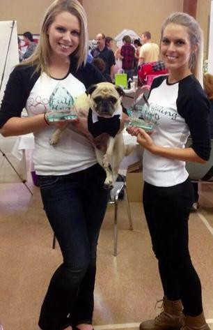 Bethany and Another Young Lady Holding Awards and a Small Dog at the Greater Moncton Pet Expo on Sept. 27,  2014